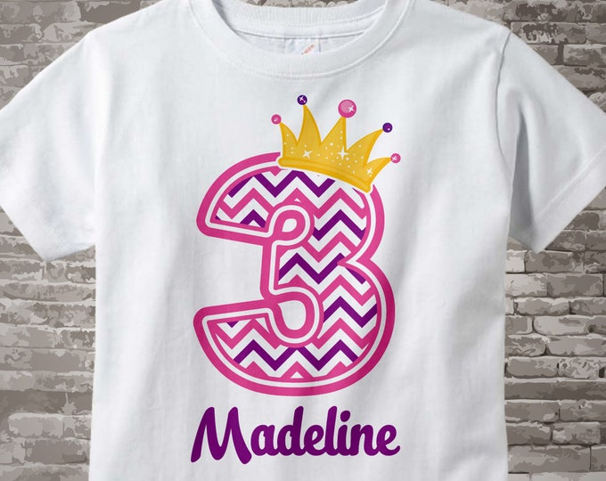 Third Birthday Shirt, Pink Chevron 3 Birthday Shirt, Any Age Personalized Girls Birthday Shirt Pink Age and Name Tee for kids | 07292014cz