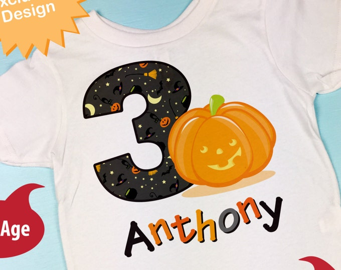 Personalized Third Birthday Pumpkin Tee Shirt, 3rd Birthday Halloween Theme T-Shirt, Any Age (10082014j)