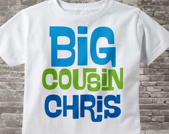 Big Cousin Shirt or Onesie, Personalized Big Cousin shirt with blue and green letters 10072013b