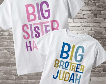 Big Sister Big Brother Shirt SET, Matching SET of 2, Sibling Personalized with Blue Letters for Boys and Pink and Purple for Girls 06212013b