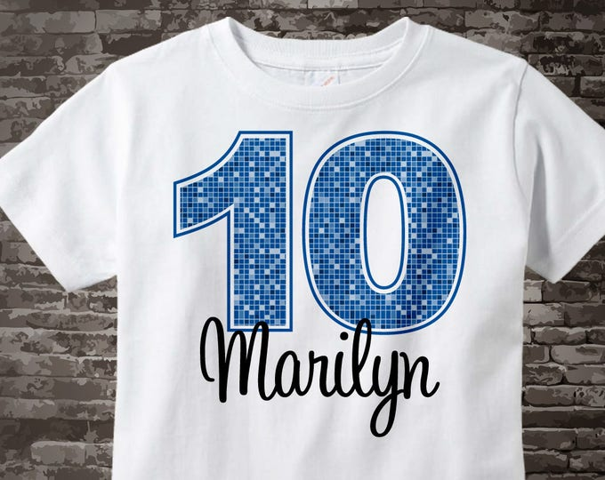 Tenth Birthday Shirt, Dark Blue 10 Birthday Shirt Any Age Personalized Girls Birthday Shirt Blue Age and Name Tee for kids 11042013bz