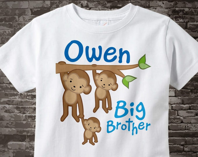 Big Brother Shirt or Onesie, Monkey Shirt, Big Brother Monkey, Personalized Big Brother with Two Little Brothers Monkey Tee Shirt 10202011j