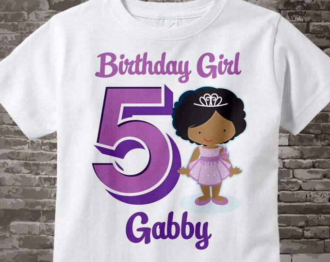 Fifth Birthday Shirt, Princess 5 Birthday Shirt or Onesie, Any Age Personalized Shirt Purple Age and Name Tee for kids 05242017a