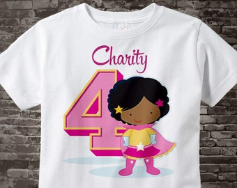 Girl's Personalized Superhero 4th Birthday Tee Shirt or Onesie with soft black curls and brown skin 09272017a