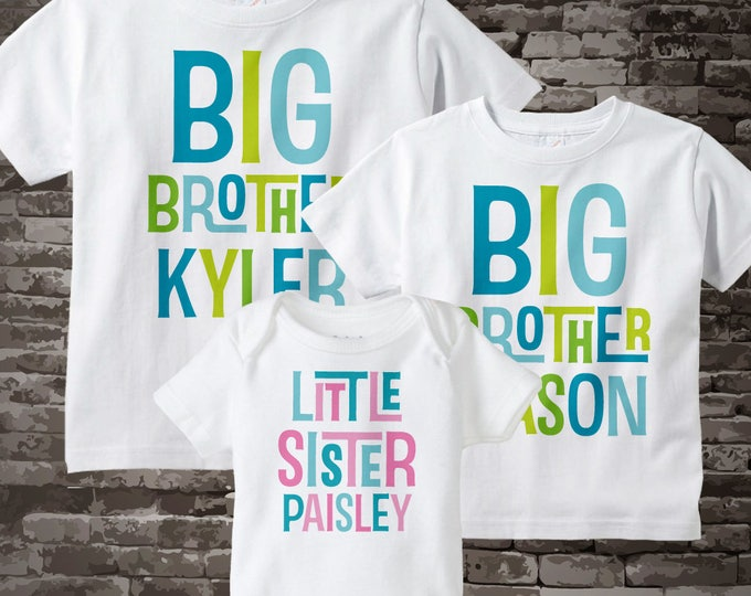 Boys and Girls Set of Three, Personalized two big brother Shirts, and Little Sister Shirt or Onesie Announcement 04232015g