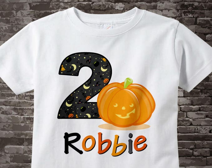 Personalized Second Birthday Pumpkin Tee Shirt or Onesie, 2nd Birthday Halloween Theme Tee Shirt, Any Age 10022012a
