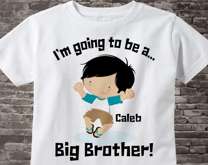 I'm going to be a Big Brother White Cotton T-shirt or Onesie Bodysuit with Little Boy Jumping for Joy 04142014e