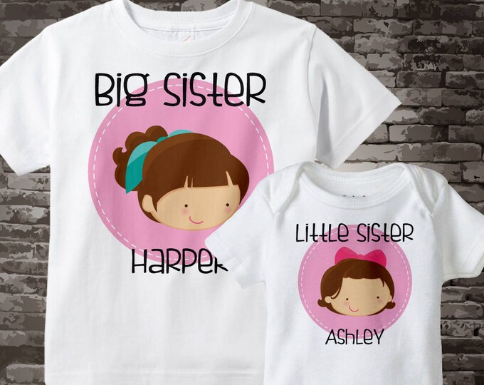 Big Sister Little Sister Outfit Shirt set of 2, Sibling Shirt, Personalized Tshirt with Cute Girls, Sprinkle Baby Shower Gift 06092017a