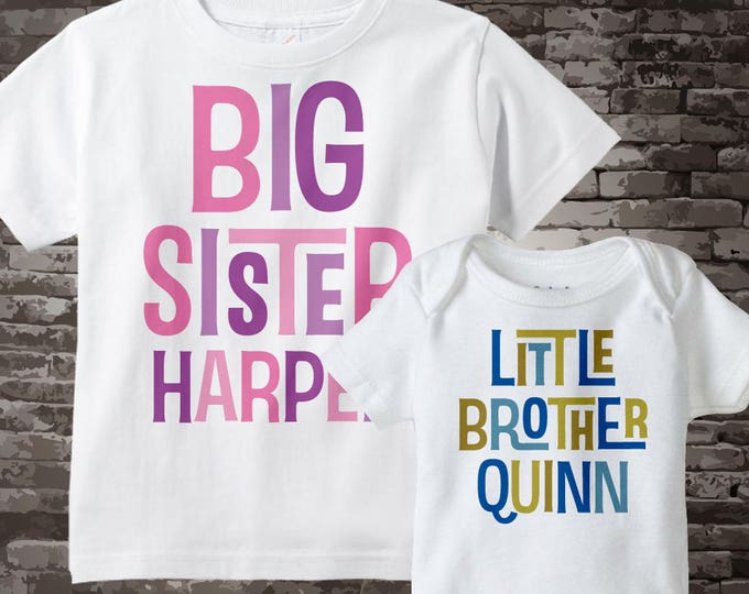 Big Sister Shirt and Little Brother Onesie set of two, can be personalized with your child's name 06212013b