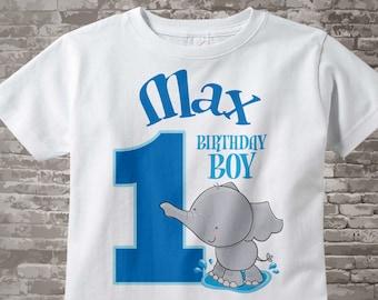 Personalized FIrst Birthday Elephant Tee Shirt or Onesie, 1st Birthday Elephant tee, Safari Theme, Any Age 03182012ez