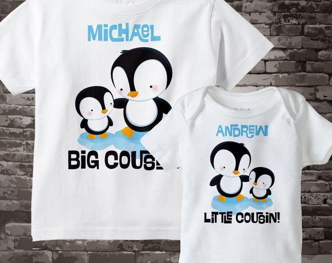 Set of Two Personalized Tshirt and Onesie with Big and Little Cousins with Cute Penguins 07202012f