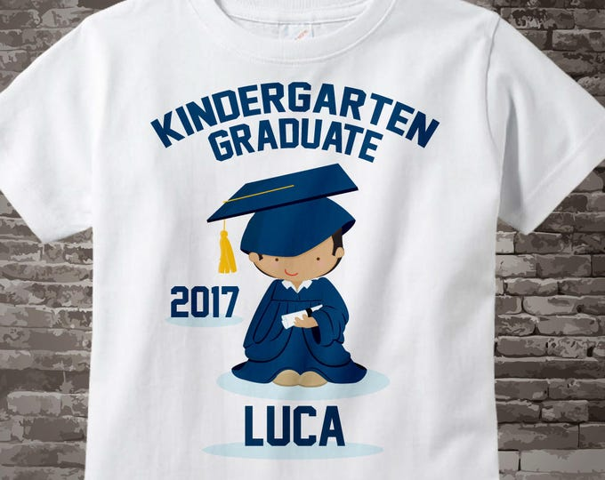 Personalized Kindergarten Graduate Shirt Kindergarten Graduation Shirt Child's Graduation Shirt Brown boy with Dark Brown Hair 05032017c