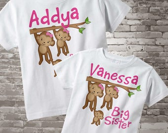 Biggest Sister and Big Sister Shirt set of 2, Sibling Shirt, Personalized Tshirt with Cute Monkeys 03262014a