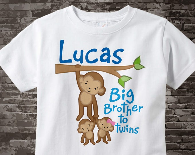 Boy's Big Brother to Twins Monkey Shirt or Onesie with twin Baby boy and girl Monkeys, Personalized Pregnancy Announcement  04102015a