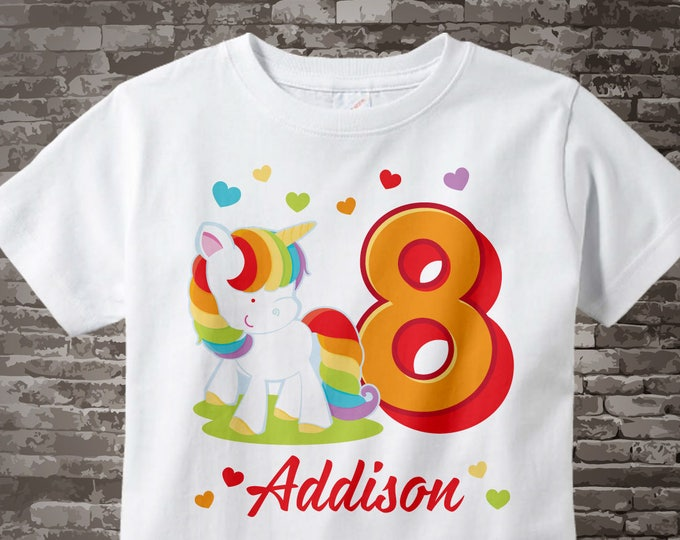 8th Birthday Girl Unicorn Birthday Shirt, Personalized Girl's Eighth Birthday Shirt, Rainbow Unicorn Birthday Theme 03272017a