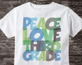 School Kids 3rd Grade Shirt, School Kids Peace Love Third Grade Shirt, Colorful Third Grade Shirt Child Back To School kids Shirt 07272015d