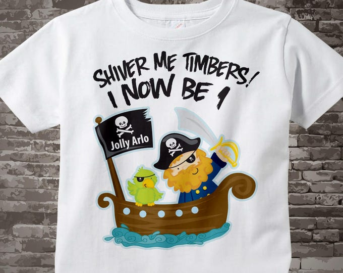 One Year Old's Pirate Birthday Shirt Personalized Pirate Birthday Shirt or Pirate Onesie with Your Child's Name and Age 05072014a