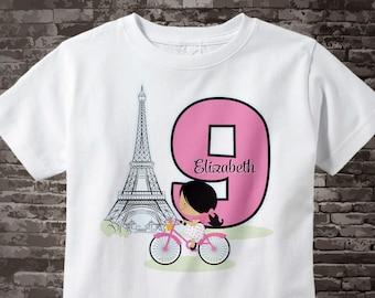 Ninth Paris Birthday Shirt, Pink 9 Birthday Shirt, Personalized Girls Birthday Shirt Pink Age and Name Tee for kids 08152046bz