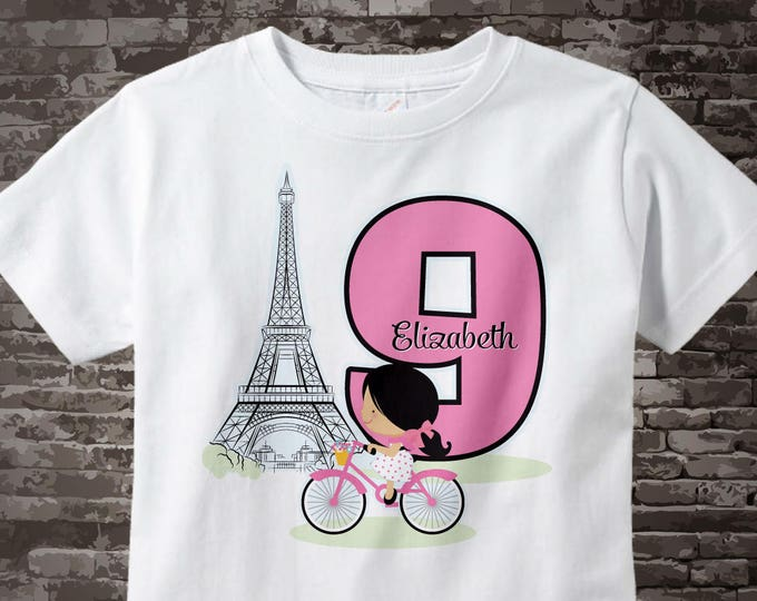 Ninth Paris Birthday Shirt, Pink 9 Birthday Shirt, Personalized Girls Birthday Shirt Pink Age and Name Tee for kids 08152046b