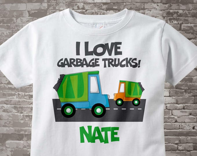 Personalized I Love Garbage Trucks Tee Shirt or Onesie 03222012a