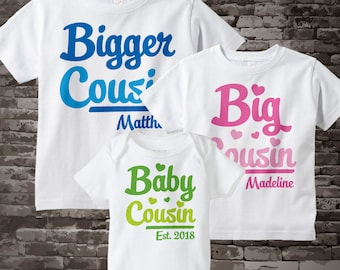 Set of Three, Bigger Cousin, Big Cousin and Baby Cousin Tees or Onesies in Blue, Pink and Green script 09022015e