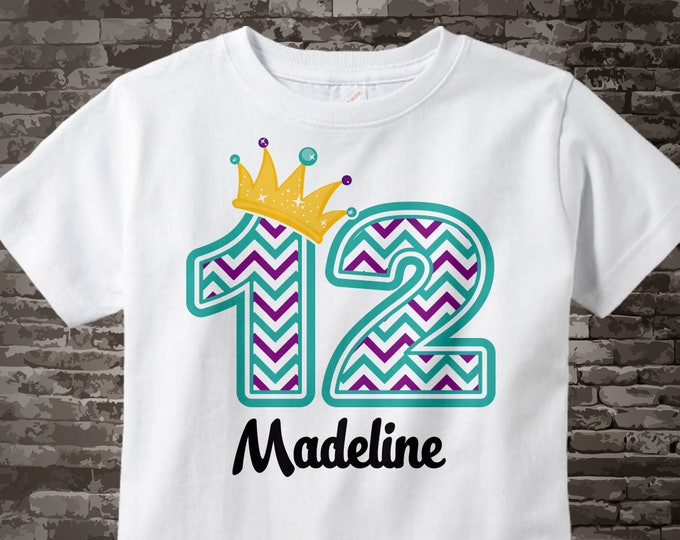 Twelfth Birthday Shirt, Turquoise Chevron 12 Birthday Shirt, Any Age Personalized Girls Birthday Shirt Outfit top 03092017c