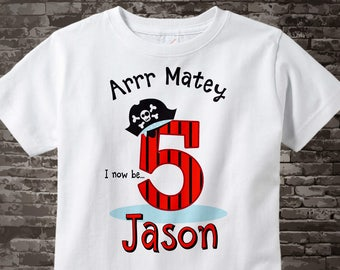 Five Year Old's Pirate Birthday Shirt Personalized Pirate Birthday Shirt or Pirate Onesie with Your Child's Name and Age 06262017a