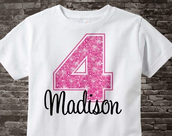 Fourth Birthday Shirt, Pink 4 Birthday Shirt, Any Age Personalized Girls Birthday Shirt Pink Age and Name Tee for kids 07172012a