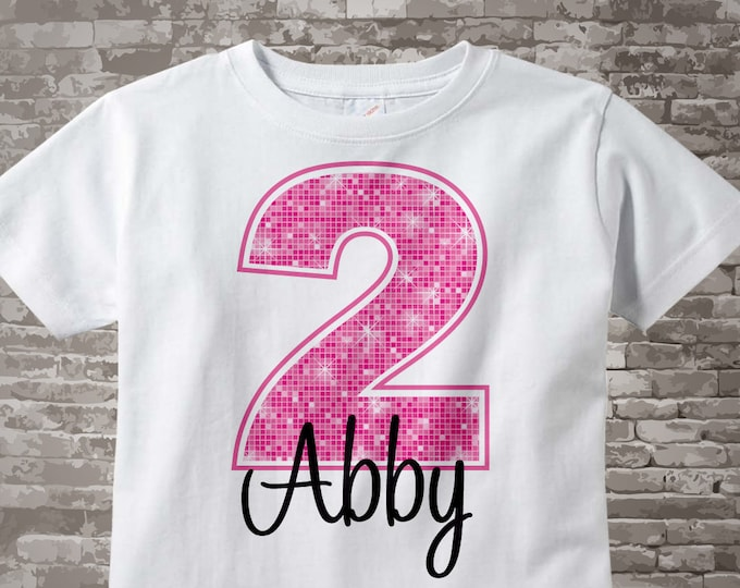 Second Birthday Shirt, Pink 2 Birthday Shirt, Any Age Personalized Girls Birthday Shirt Pink Age and Name Tee or Onesie 01062014c