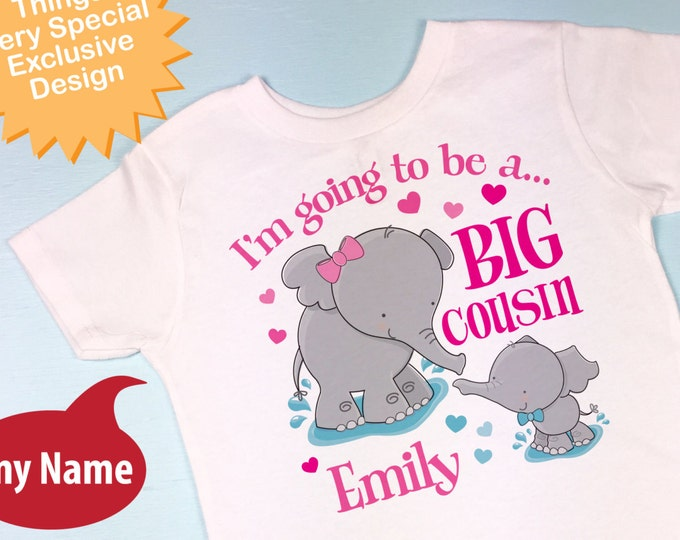 Elephant Big Cousin Onesie or tee shirt showing baby boy elephant, I'm going to Be a Big Cousin Pregnancy Announcement (10102016b)