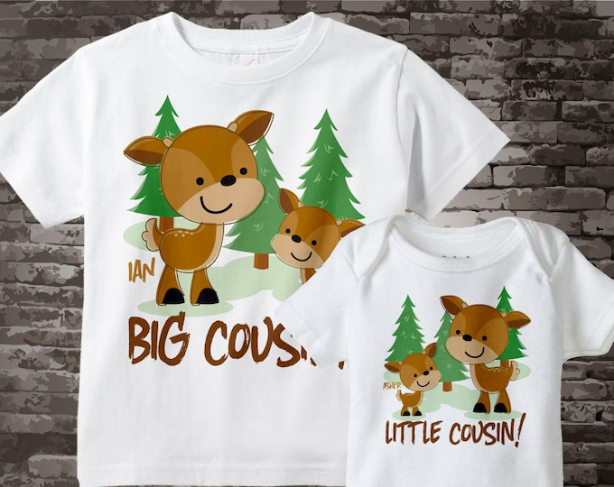 Set of Two, Personalized Big Cousin and Little Cousin buck deer Shirt and Onesie, Pregnancy Announcement 08222014b