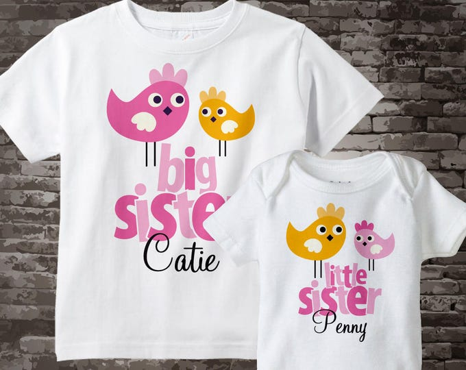 Big Sister Little Sister Outfit Shirt set of 2, Sister Bird Shirt, Personalized Tshirt with Cute Pink and Orange Birdies 12222011a