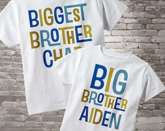 Biggest Brother and Big Brother White Cotton Shirt Set with Blue and Golden Green Lettering 12302013f