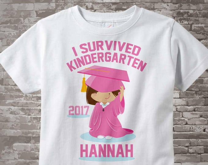 I Survived Kindergarten T-shirt with Caucasian Girl in a Pink Robe, Personalized 05192014h