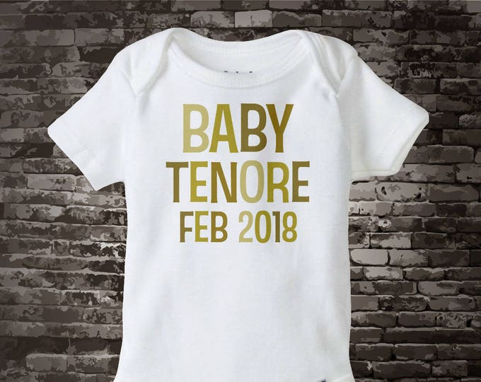 Neutral Baby Onesie or Tee Shirt with Family last Name and Due Date 02122014a