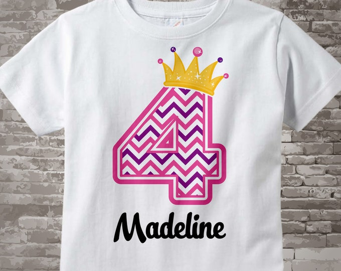 Fourth Birthday Shirt, Pink Chevron 4 Birthday Shirt, Any Age Personalized Girls Birthday Shirt Pink Age and Name Tee for kids 06022014d