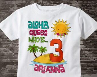 3rd Birthday Girls' Hawaiian Luau Third Birthday Shirt, Personalized 3 Birthday t-shirt, Age and Name Tee for kids 04082014f