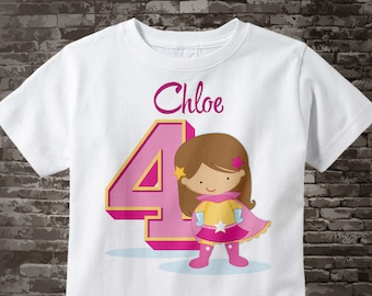 Girl's Fourth Birthday Tee Shirt - Personalized with her name and the age 12092016a