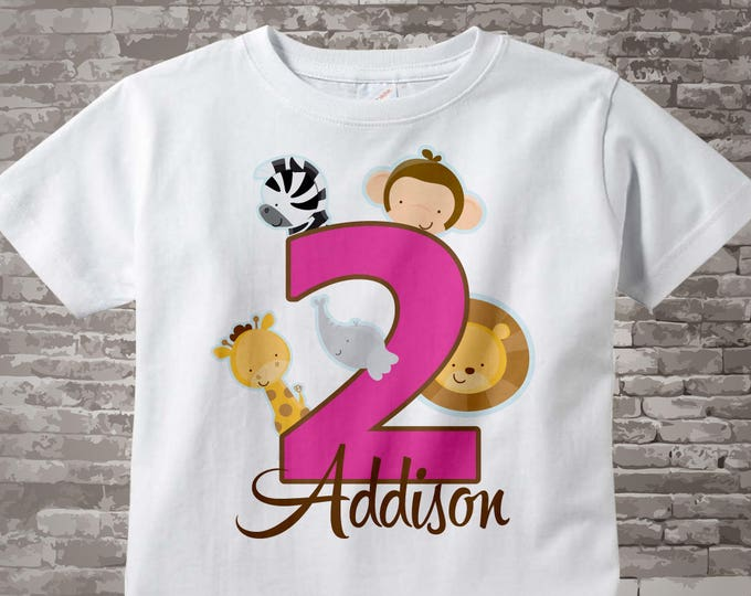 Two Year Old Jungle Birthday Shirt with Name, Second Birthday Shirt, Personalized Jungle Birthday Theme 01142013a