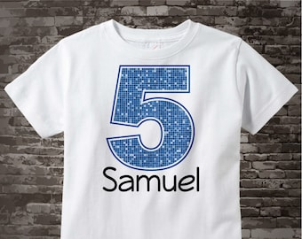 Fifth Birthday Onesie, Blue Number 5 5th Birthday Shirt, Personalized Boys Birthday Onesie, Blue Age and Name Tee for kids 12312013fz