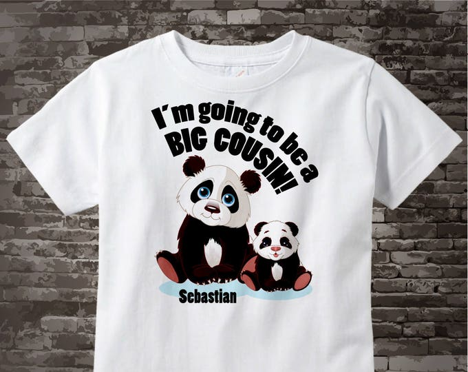 I'm Going to Be A Big Cousin Shirt, Big Cousin Onesie, Personalized Big Cousin Shirt, Panda Bear Shirt with Unknown Gender Baby 01222012a