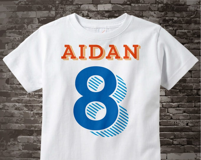 Boy's Eighth Birthday Big number 8 Shirt Personalized Birthday Boy Theme Tee Shirt or Onesie 09282015a