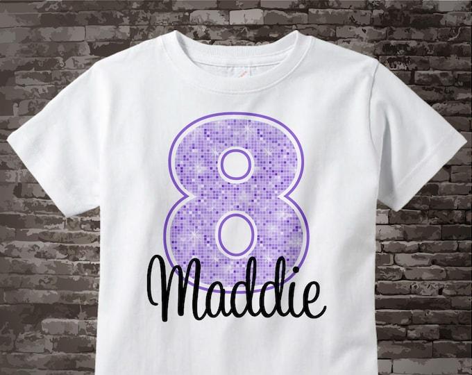 Eighth Birthday Shirt, Light Purple 8 Birthday Shirt, Any Age Personalized Girls Birthday Shirt Light Purple Age and Name 11212012a