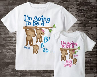 I'm Going to Be A Big Brother Again, Big Sister Shirt set of 2, Sibling Shirt, Personalized Tshirt with Cute Monkeys 12272013d