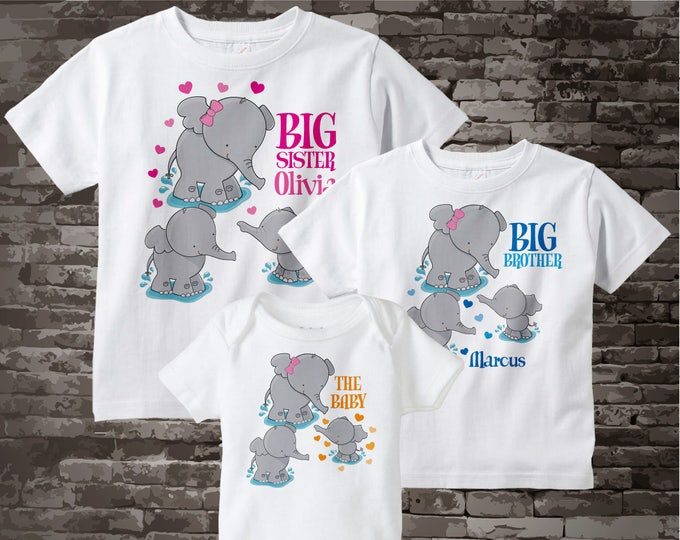 Set of Three, Big Sister, Big Brother and The Baby Unknown Sex Elephant Shirts and Onesie Personalized with your child's name 07152014c