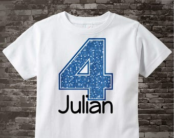 Fourth Birthday Onesie, Blue Number 4 4th Birthday Shirt, Personalized Boys Birthday Onesie, Blue Age Name Tee or Infant Onesie 07032012bz