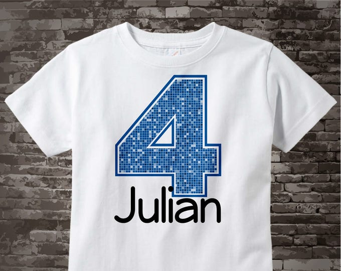 Fourth Birthday Onesie, Blue Number 4 4th Birthday Shirt, Personalized Boys Birthday Onesie, Blue Age Name Tee or Infant Onesie 07032012b
