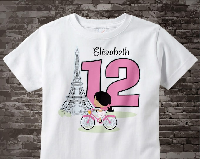 Twelfth Paris Birthday Shirt, Pink 12 Birthday Shirt, Personalized Girls Birthday Shirt Pink Age and Name Tee for kids 12202016a