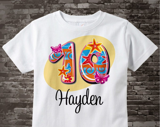 Ten Year Old Shirt with Name, Tenth Birthday Shirt, Fancy Number 10th Birthday, Personalized Girls Birthday t-shirt 08202014b
