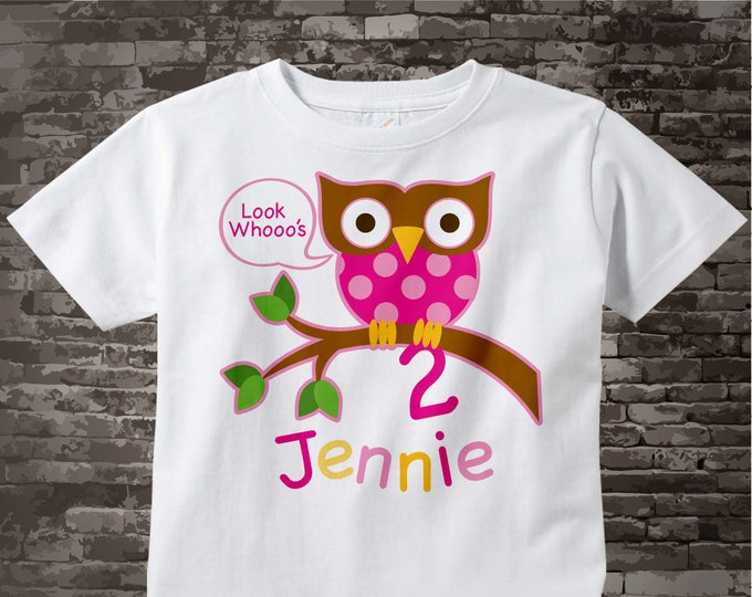 Girl's Owl Birthday Shirt or Onesie, Pink Girls Owl Birthday Shirt Personalized with Child's Name and age tshirt 02022014cz